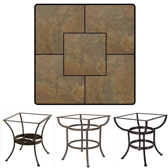 OW Lee 36 Inch Square Porcelain Tile Top Dining Table
