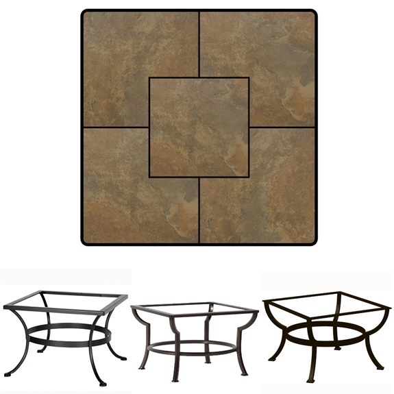 OW Lee 36 Inch Square Porcelain Tile Top Coffee Table P3636SQ XX