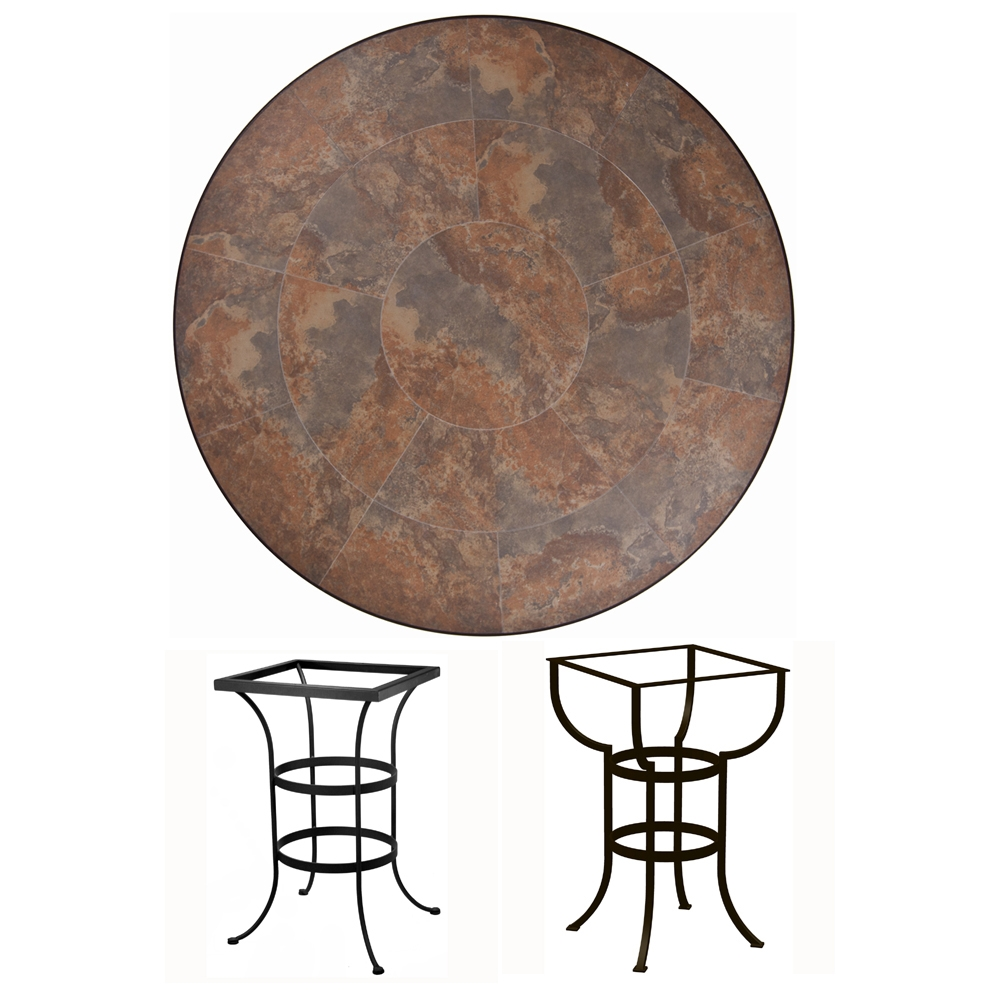 OW Lee 42 inch Round Porcelain Tile Top Bar Table - P42-BT03