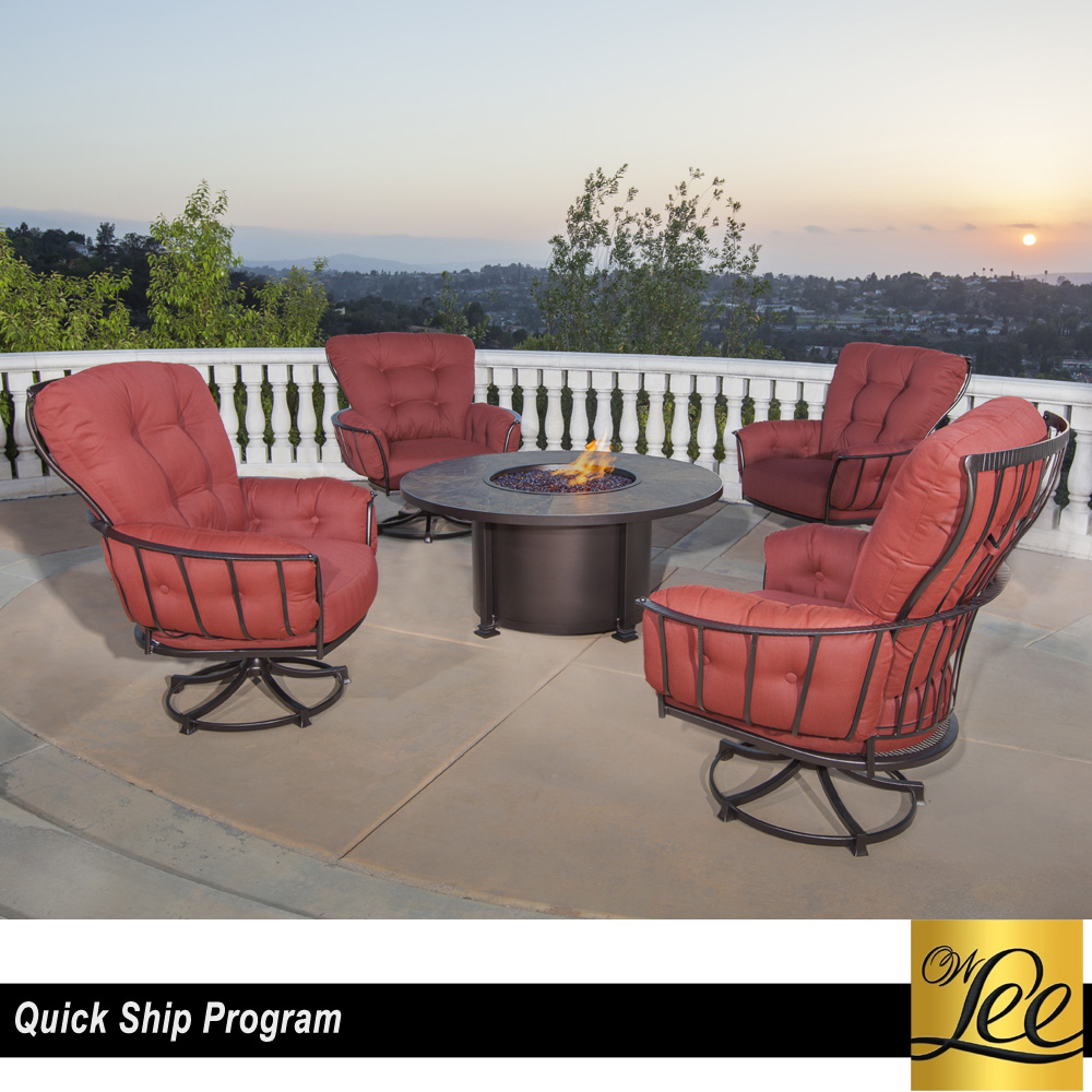 OW Lee Quick Ship Monterra Swivel Rocker And Fire Table Set   OW QUICKSHIP