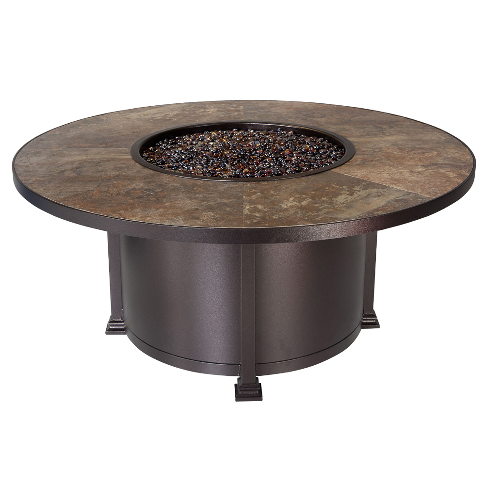 OW Lee Quick Ship Santorini 54 Inch Round Chat Height Fire Pit Table   QS