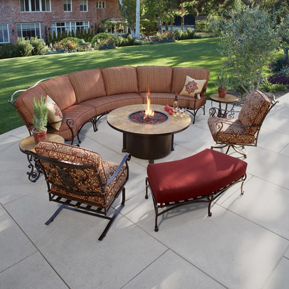 OW Lee San Cristobal Curved Sectional Set with Fire Pit Table -  OW-SANCRISTOBAL- - OW Lee San Cristobal Curved Sectional Set With Fire Pit Table OW