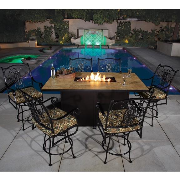 patio fire pit dining tables table uk ow lee piece counter height set outdoor with