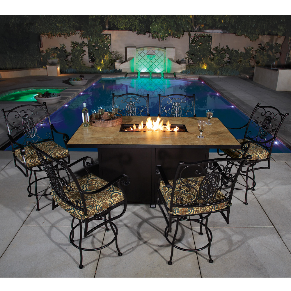 OW Lee San Cristobal 7 Piece Counter Height Fire Pit Dining Set    OW SANCRISTOBAL