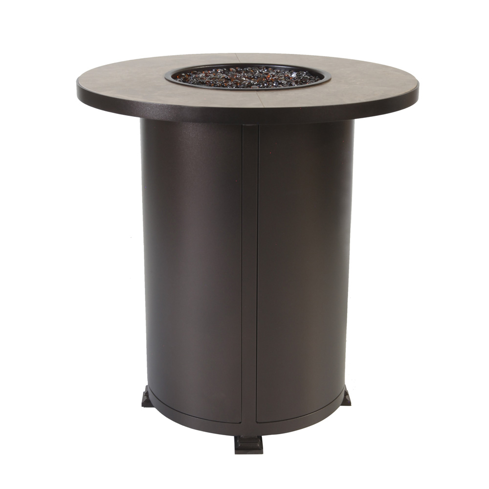 OW Lee Santorini 36 Inch Round Counter Height Fire Pit Table   51 72A
