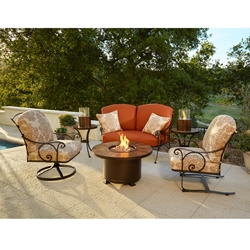 OW Lee Siena Wrought Iron Outdoor Fire Table Set - OW-SIENA-SET2