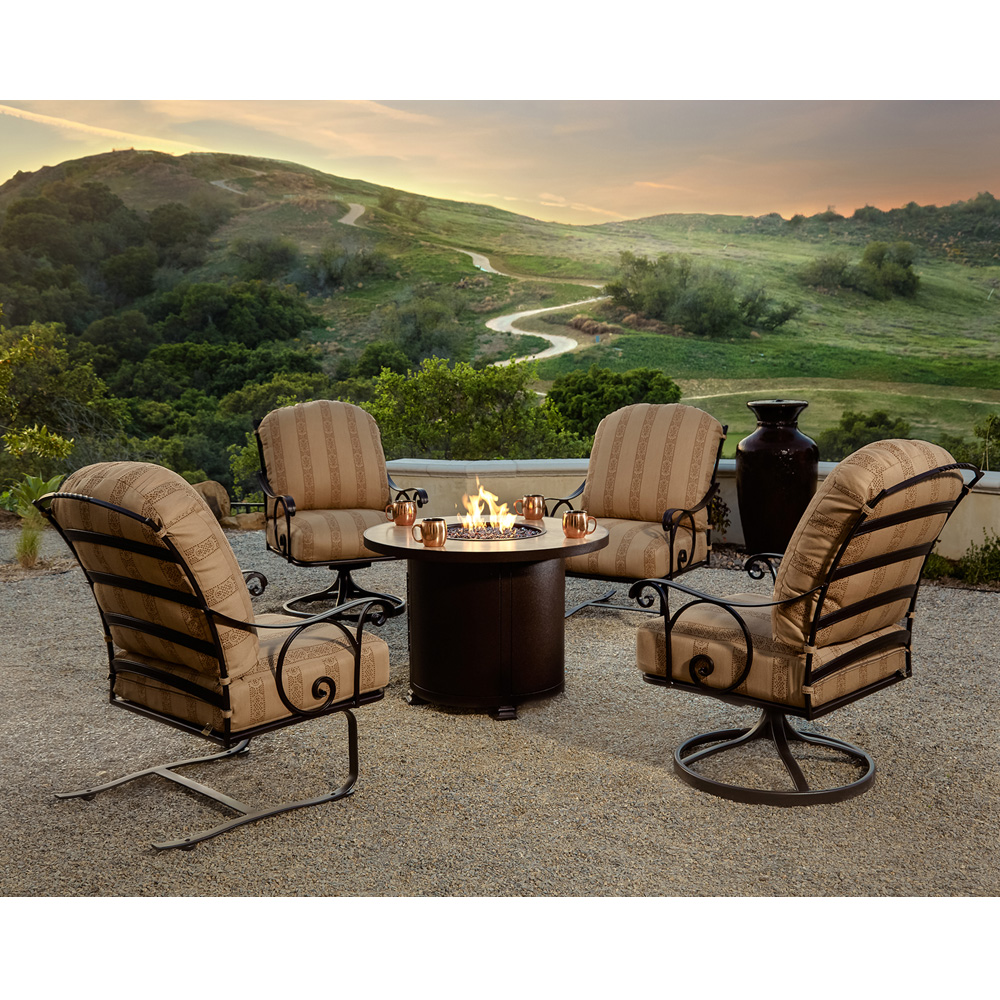 OW Lee Siena Wrought Iron Fire Pit Set With Lounge Chairs OWSIENA - Wrought iron fire pit table