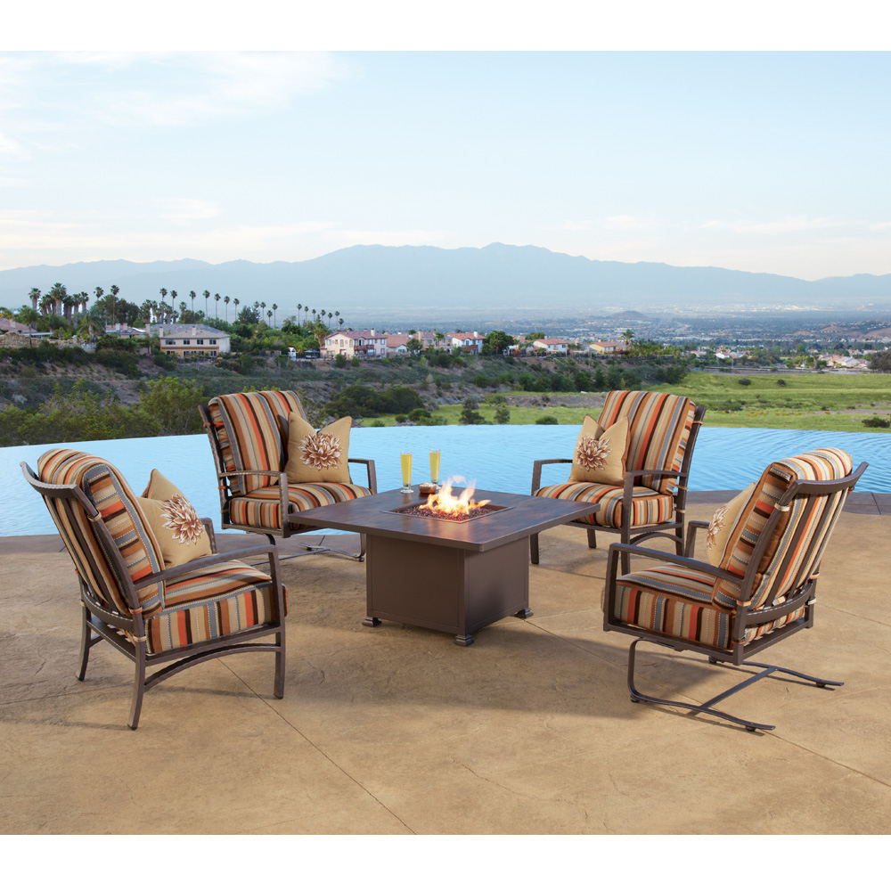 OW Lee Sol Lounge Chair Fire Pit Set - OW-SOL-SET3