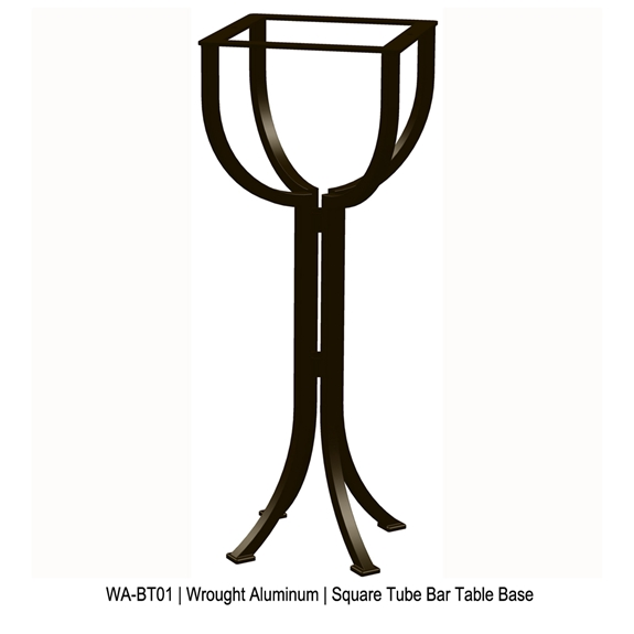 OW Lee Square Tube Aluminum Bistro Bar Table Base - WA-BT01