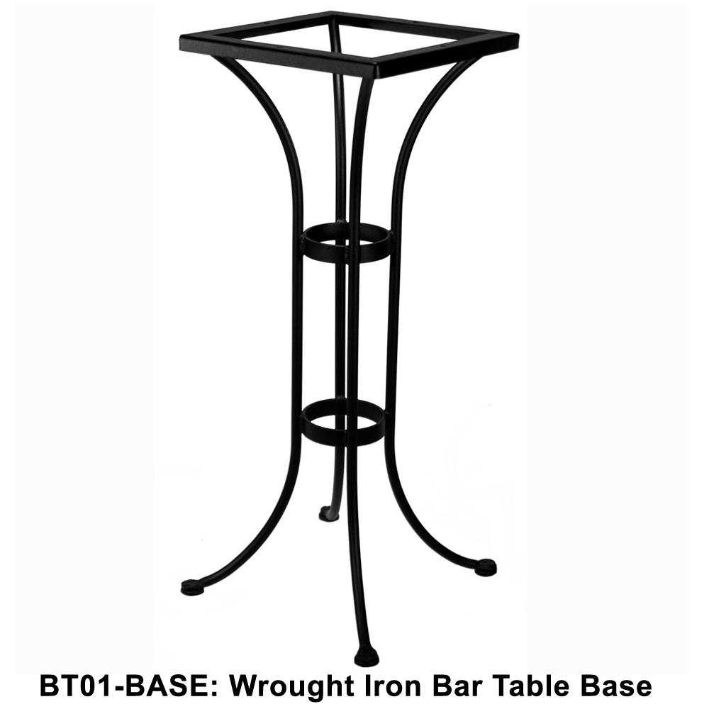 ow lee standard wrought iron bar height bistro table base bt01 base