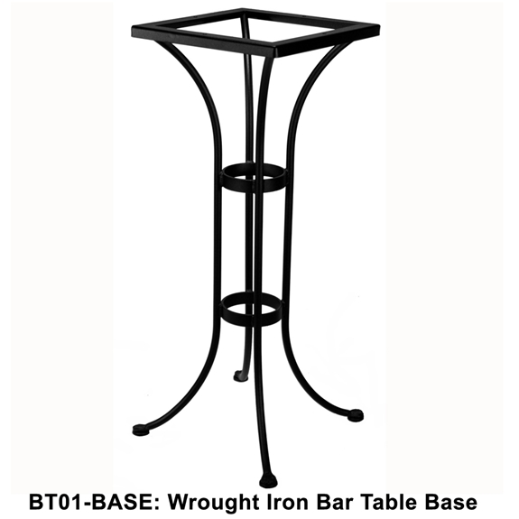 Ow lee standard wrought iron bar height bistro table base for Outdoor table bases wrought iron