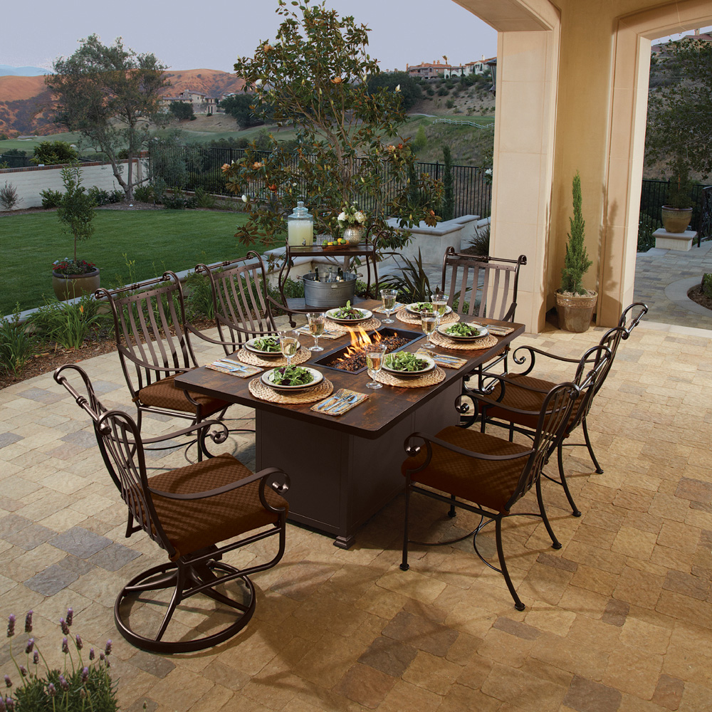 OW Lee St Charles 7 Piece Fire Pit Table Dining Set