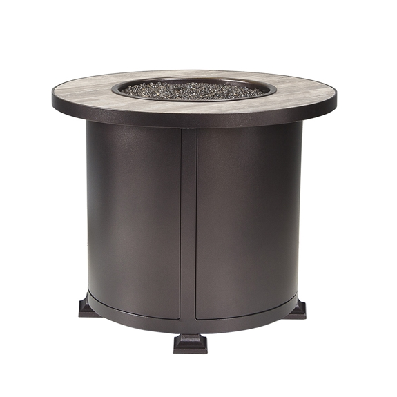 "OW Lee 30"" Round Chat Height Vulsini Aluminum Fire Pit - 5120-30RDC"