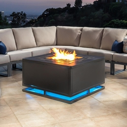"OW Lee Zentu 42"" Square LED Chat Height Aluminum Fire Pit Table- 5137-42SQC"