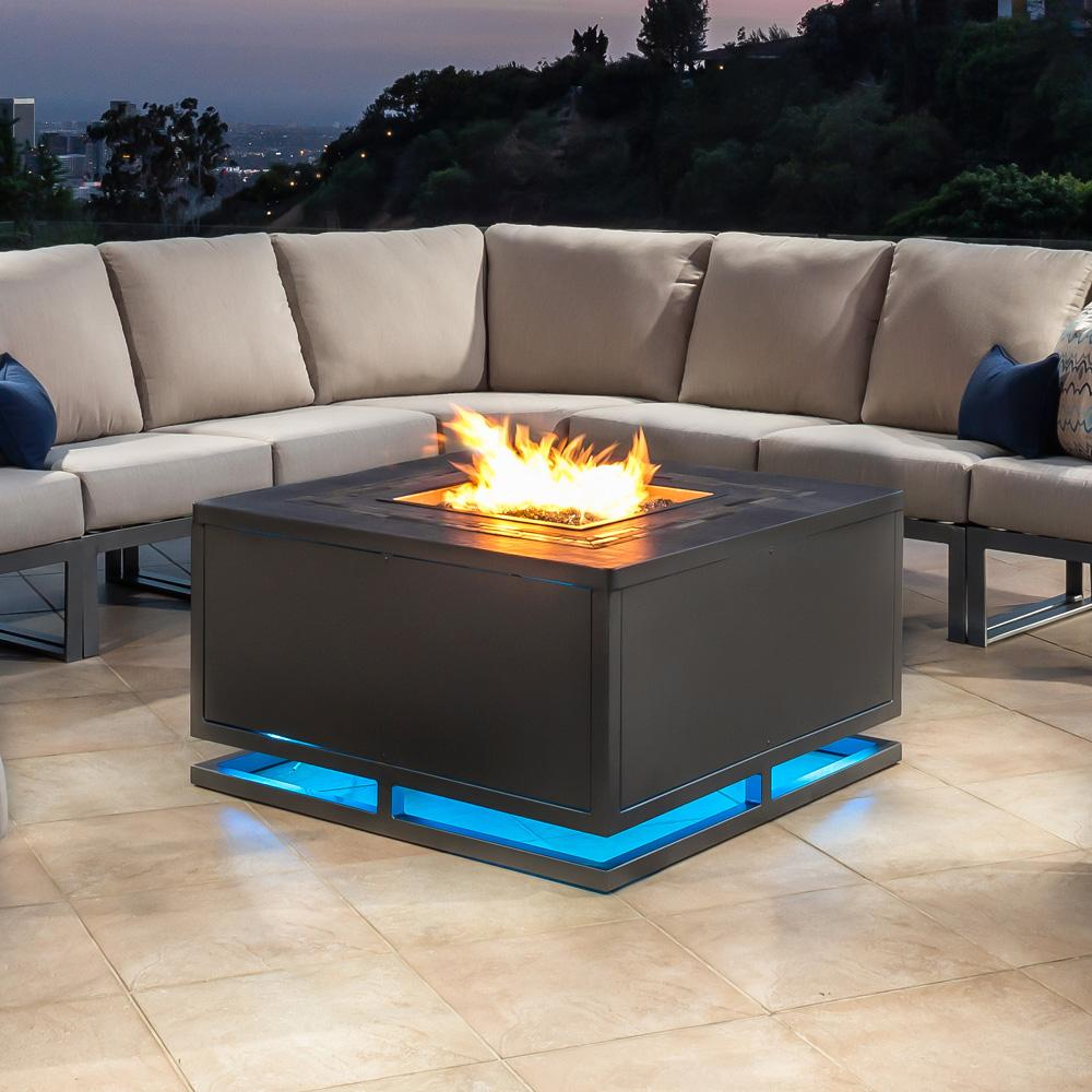 Ow Lee Zentu 42 Quot Square Led Chat Height Aluminum Fire Pit