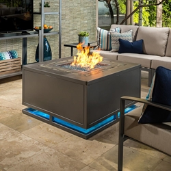 "OW Lee Zen 42"" Square Chat Height Iron Fire Pit Table with LED Lights - 5137-42SQC"