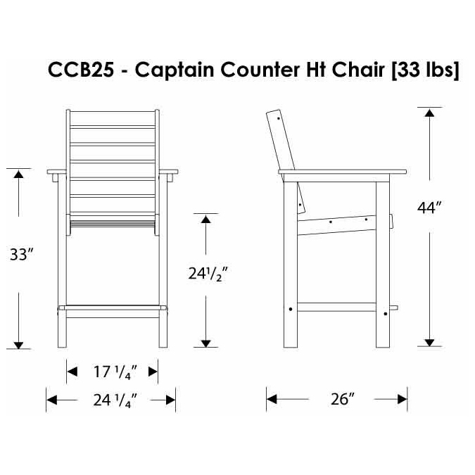 Polywood 174 Captain Counter Height Chair Ccb25