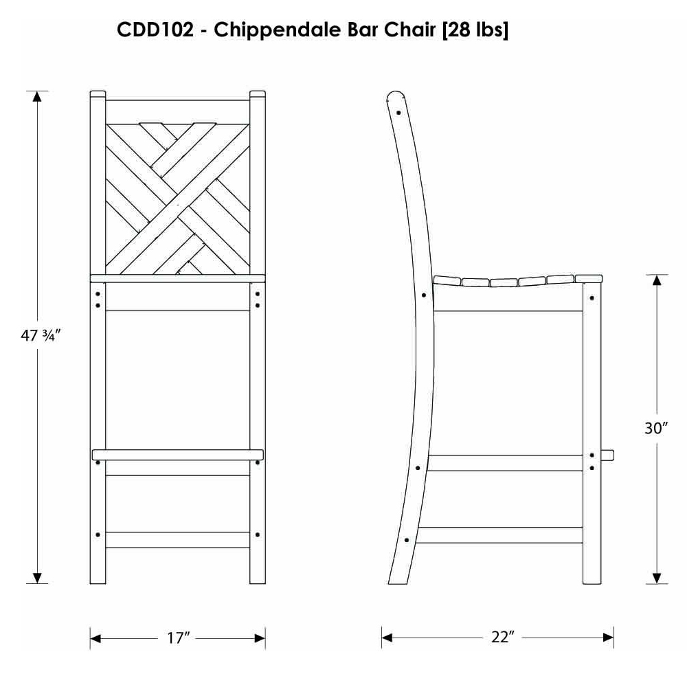 Polywood chippendale bar height side chair cdd102 for Outdoor furniture dimensions