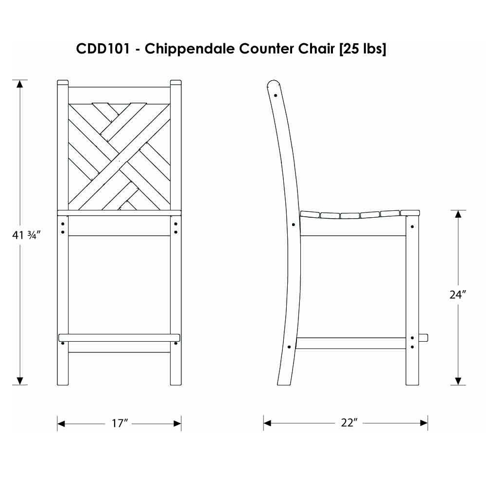 Outdoor Patio Furniture Dimensions: POLYWOOD® Chippendale Counter Height Side Chair