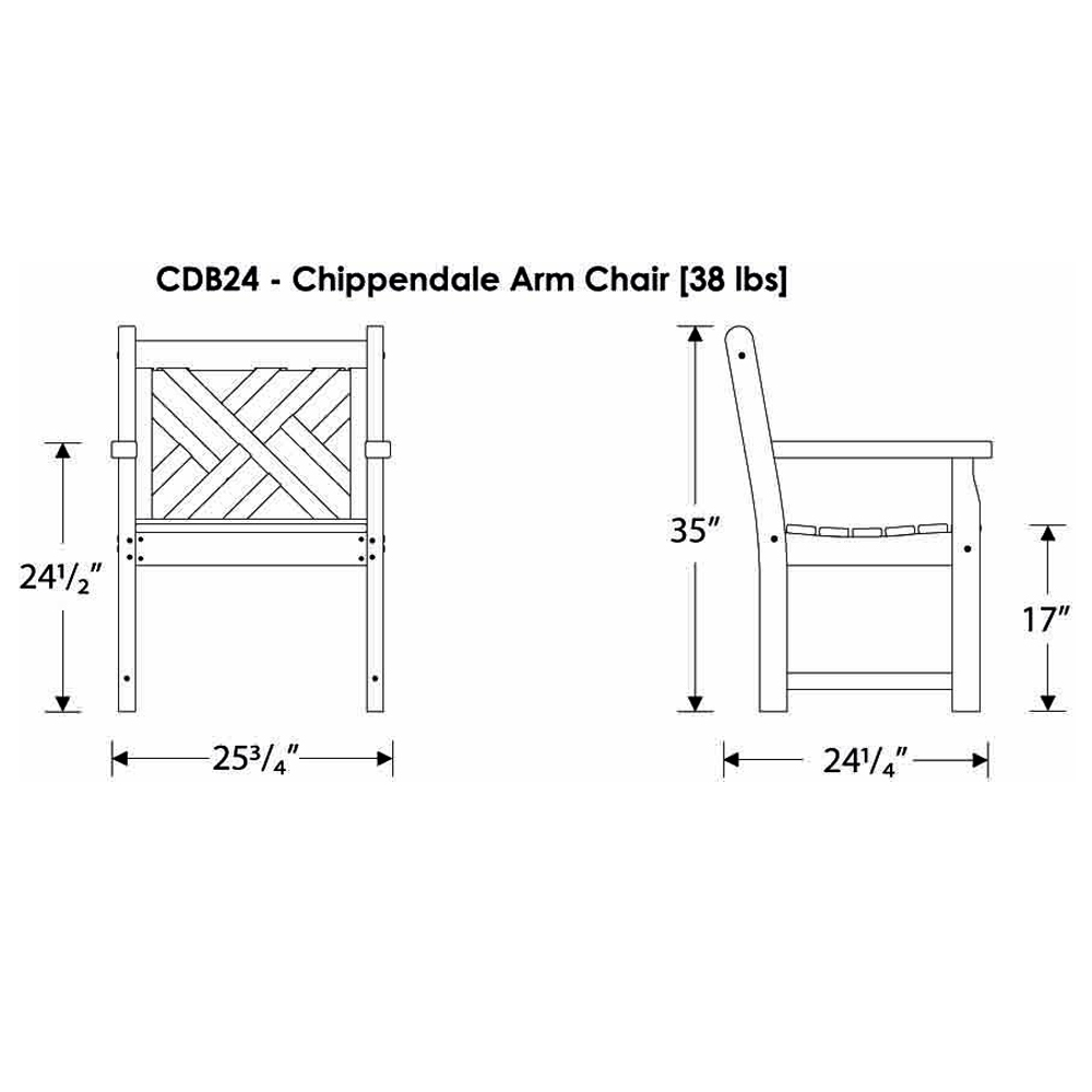 Polywood 174 Chippendale Garden Arm Chair Cdb24