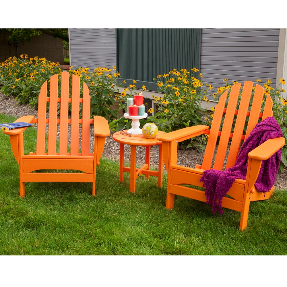Polywood classic adirondack 3 piece folding chair set for Outdoor seating furniture