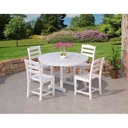 PolyWood La Casa Cafe Dining Set with Armless Chairs - PW-LACASA-SET5