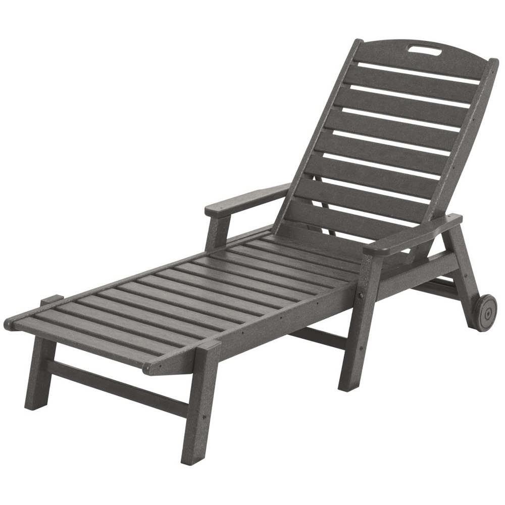 POLYWOOD Nautical Chaise Lounge With Wheels NCW2280