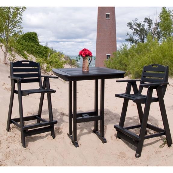 Polywood Nautical Bar Height Bistro Set Pw Set1