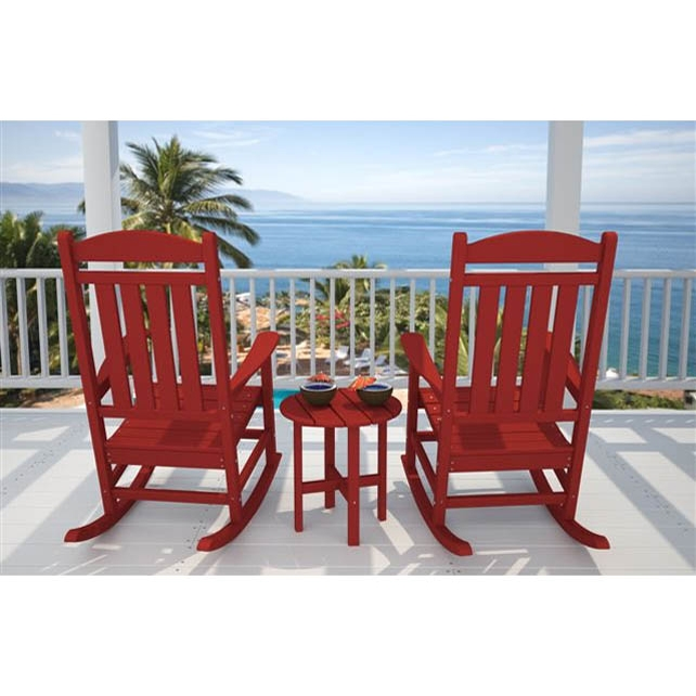 Polywood Presidential Rocking Chair Set With Round Table Pw
