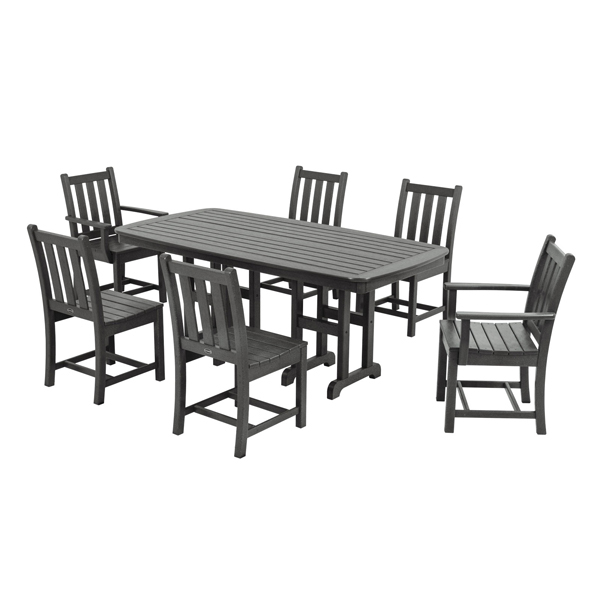 Polywood traditional garden 7 piece dining set pw for Traditional garden furniture