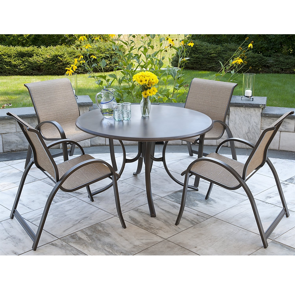 Telescope Casual Aruba Ii Sling 5 Piece Dining Set W Werzalit Table