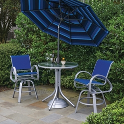 Telescope Casual Aruba Sling Balcony Height Outdoor Set with Swivel Stools - TC-ARUBA-SET8