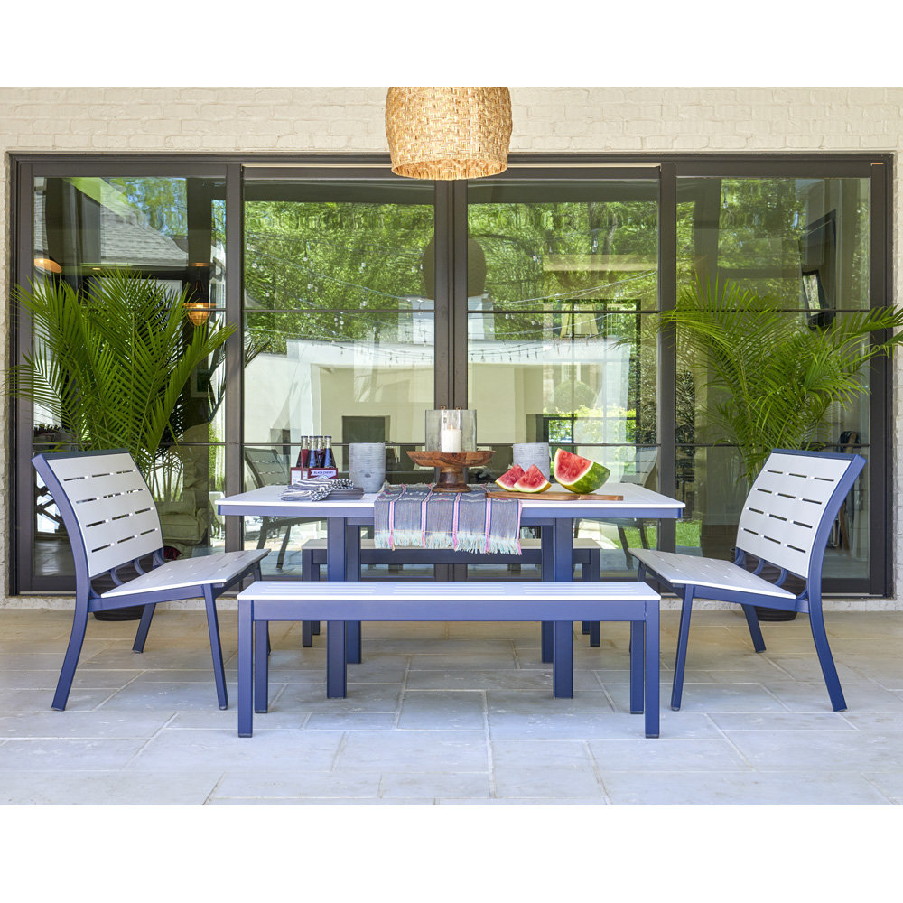 Telescope Casual Bazza Bench Dining Set with with Square Table - TC-BAZZA-SET9