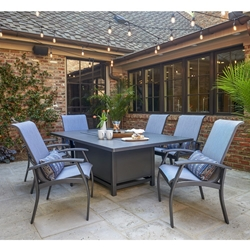 Telescope Casual Belle Isle Sling Dining Set with Fire Table - TC-BELLESLING-SET5