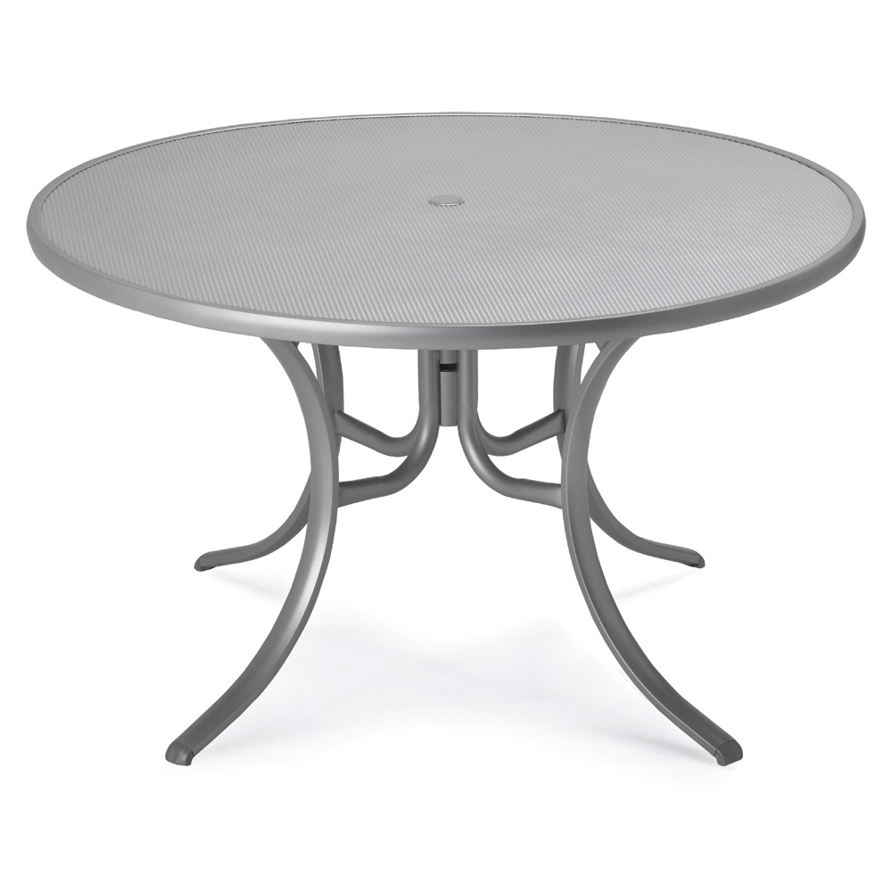 Telescope Casual 48 Inch Round Embossed Aluminum Umbrella Top Dining Table - 2970EAO