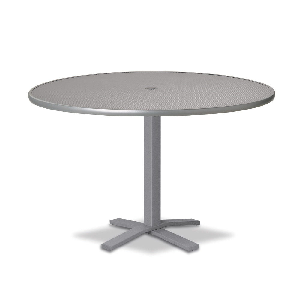 "Telescope Casual Embossed Aluminum 42"" Round Dining Table with Pedestal Base - T900-EA0-2X20"