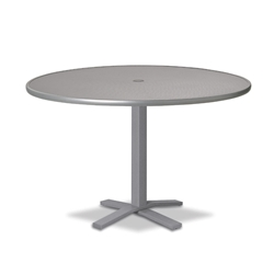 "Telescope Casual Embossed Aluminum 48"" Round Dining Table with Pedestal Base - T970-EA0-2X20"