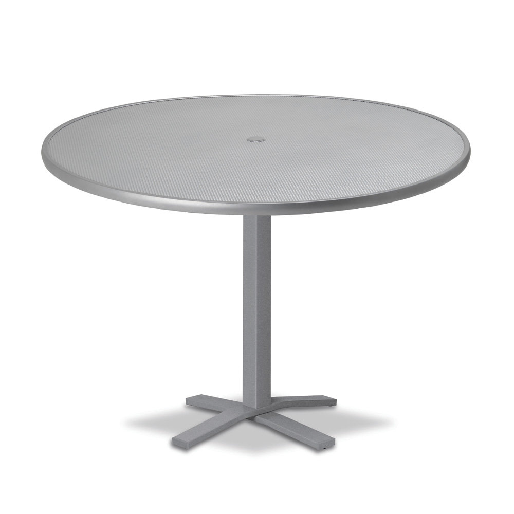 "Telescope Casual Embossed Aluminum 48"" Round Balcony Height Table with Pedestal Base - T970-EA0-3X20"
