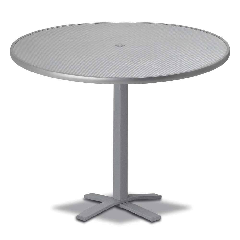"Telescope Casual Embossed Aluminum 48"" Round Bar Table with Pedestal Base - T970-EA0-4X20"
