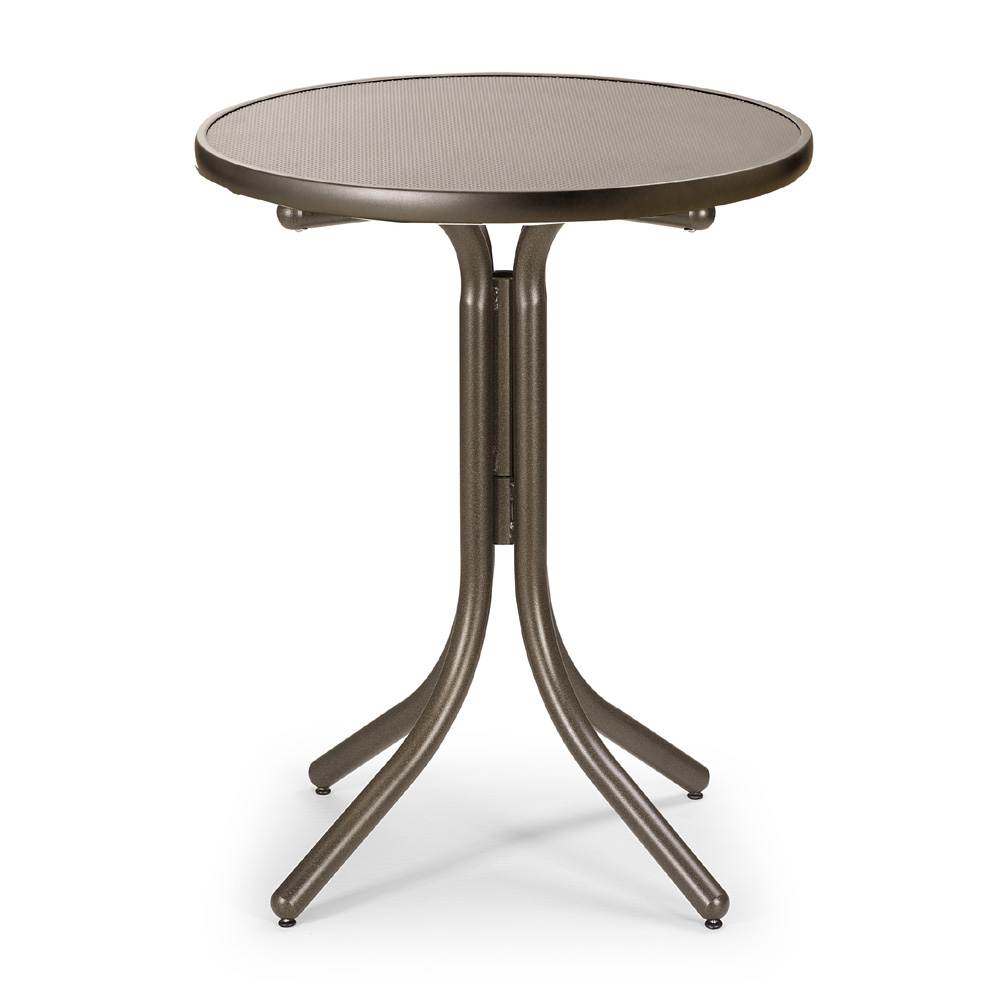 Telescope Casual Round Embossed Aluminum Balcony Height Table - 30 inch round outdoor table