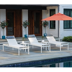 Telescope Casual Kendall Sling Modern Aluminum Pool Chaise Set of 3 with Side Tables - TC-KENDALL-SET6