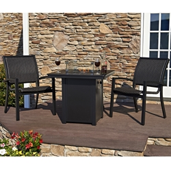 Telescope Casual Kendall Wicker Fire Table Dining Set - TC-KENDALLWICKER-SET1