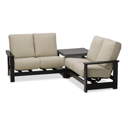 Telescope Casual Leeward Cushion Marine Grade Polymer Modular Loveseat Patio Set - TC-LEEWARD-SET17