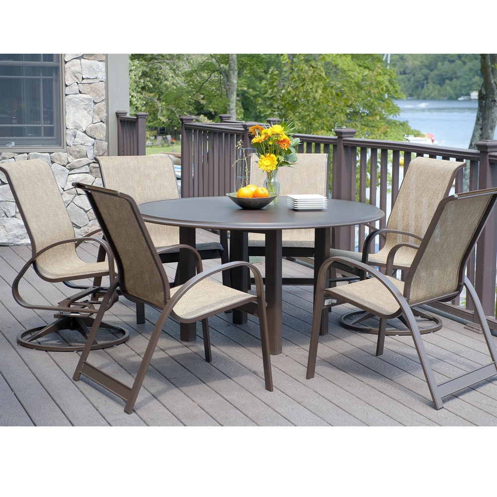 Telescope Casual 56 Round Aluminum Slat Top Dining Table 3670top 3670leg