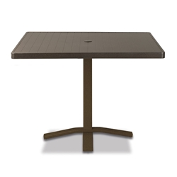 "Telescope Casual Aluminum Slat 36"" Square Dining Table with Pedestal Base - 3180-TOP-2X20"