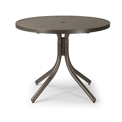 Telescope Casual 36 Inch Aluminum Slat Round Dining Table - 3230-2W50LEG
