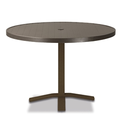 "Telescope Casual Aluminum Slat 36"" Round Dining Table with Pedestal Base - 3230-TOP-2X20"