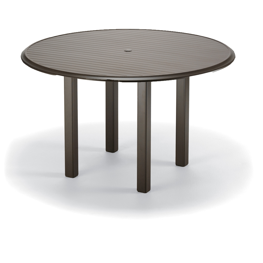 Telescope Casual Round Aluminum Slat Top Bar Table MLEG - 56 inch round table
