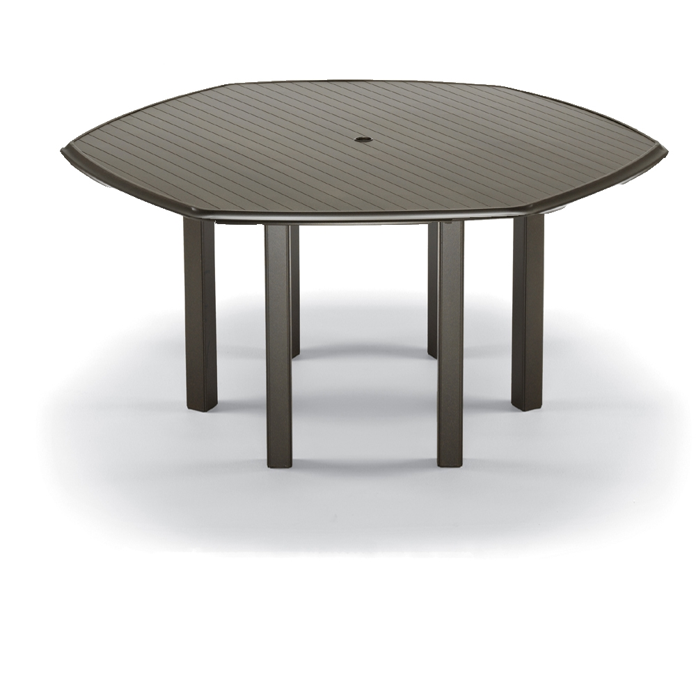 Telescope Casual 64 inch Hexagonal Aluminum Slat Top Bar Table - 3830BAR