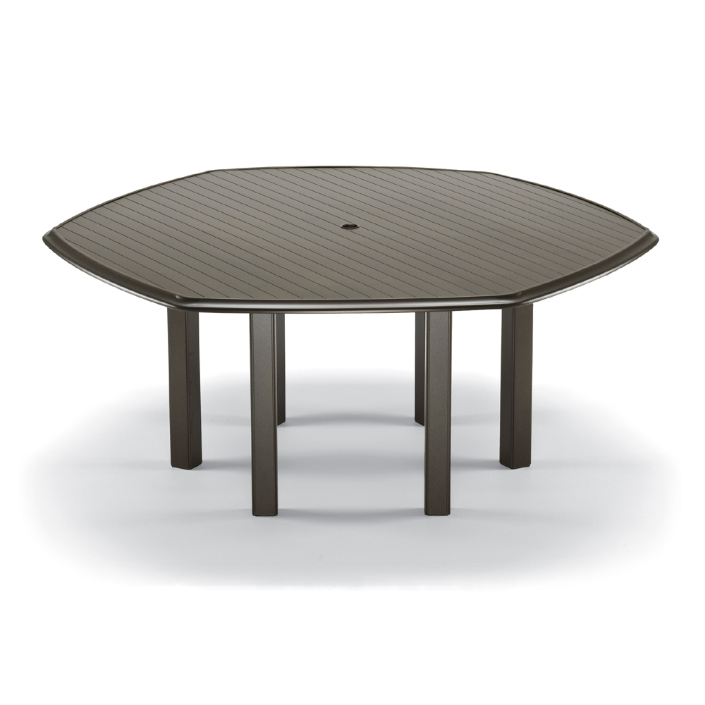 "63"" Hexagon Aluminum Slat Top Dining Table"